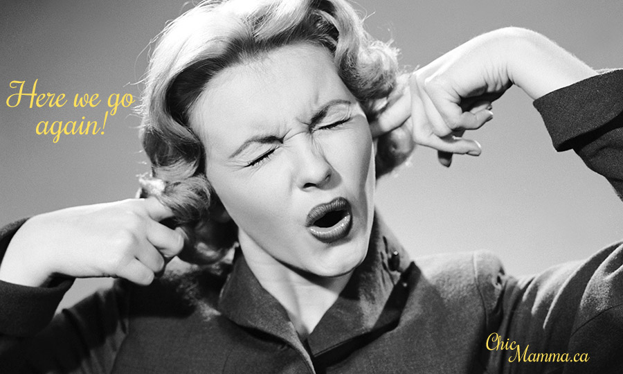 1950s woman screaming with plugged ears annoying noise won't lis